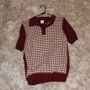 Urban Outfitters maroon and cream polo